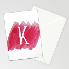 Letter K Pink Watercolor Stationery Cards