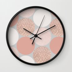 Rose Gold Dots Wall Clock