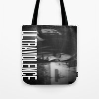 ultraviolence Tote Bags featuring ULTRAVIOLENCE GIRL. by Beauty Killer Art