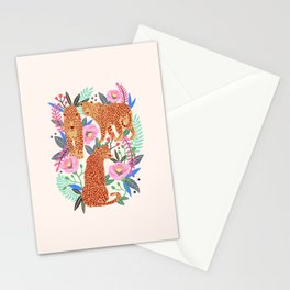The Leopards, leopard print, animal print, flower print Stationery Cards