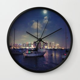 San Diego by Night - Oil Wall Clock