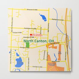 Map of North Canton, OH Metal Print