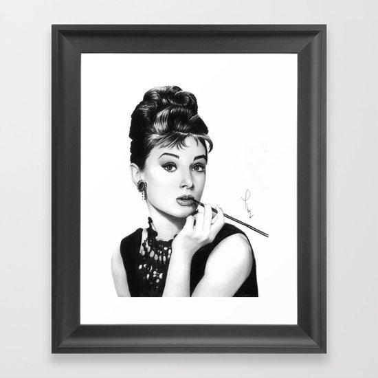 Audrey Hepburn Pencil drawing Framed Art Print