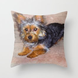 Silky Terrier Puppy - rendered as watercolor Throw Pillow