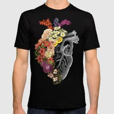 Flower Heart Spring Mens Fitted Tee Black LARGE