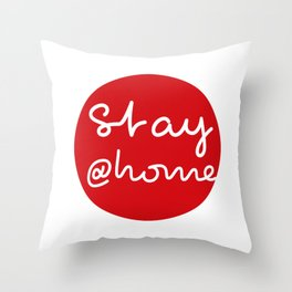 Stay at Home - Red Dot Works Throw Pillow