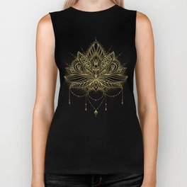 Ornamental Lotus flower Biker Tank