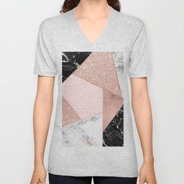 Modern rose gold glitter black white marble geometric color block Unisex V-Neck
