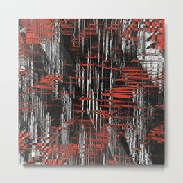 Red and Black Modern Art Metal Print