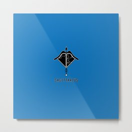 SAGITTARIUS Horoscope Bow and Arrow Design - Blue Metal Print