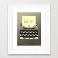 typewriter Framed Art Prints featuring Typewriter by AdamSteve