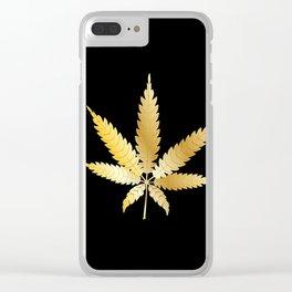 Gold Cannabis Leaf Clear iPhone Case