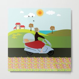 Woman on a motorcycle Metal Print