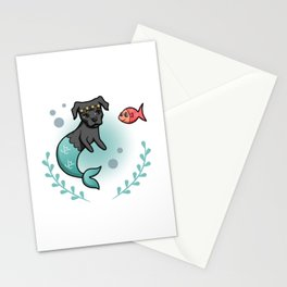 Mermaid Princess Pit Bull Dog with Little Fish Friend Stationery Cards