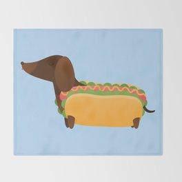 Wiener Dog in a Bun Throw Blanket