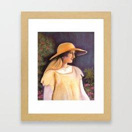 Enjoying a beautiful garden Framed Art Print