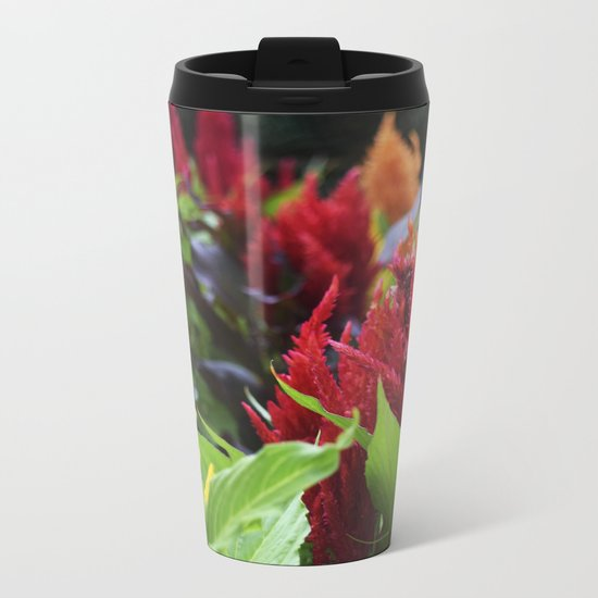 red , yellow, and pink flowers planted in the flower bed Metal Travel Mug
