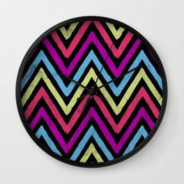 Native Neon Stripes Wall Clock