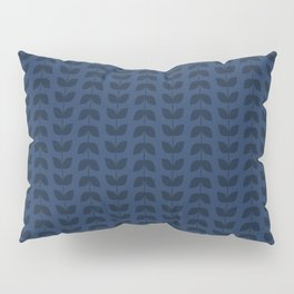 Navy Peony Leaves Pillow Sham