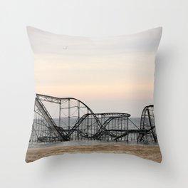 Jet Star Roller Coaster in Ocean After Hurricane Sandy Throw Pillow