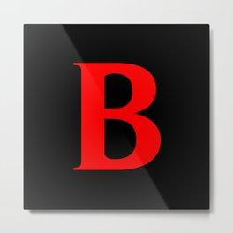 B MONOGRAM (RED & BLACK) Metal Print