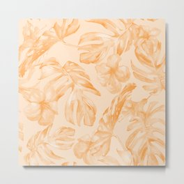 Island Vacation Hibiscus Palm Leaf Orange Metal Print