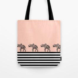 ELEPHANT & STRIPES CORAL Tote Bag