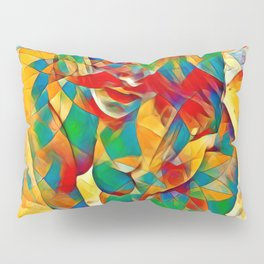 3334s-SRC Abstract Woman with Blue Eyes Rendered in Color and Style Pillow Sham