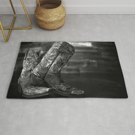 Black and White Cowgirl Boots Rug