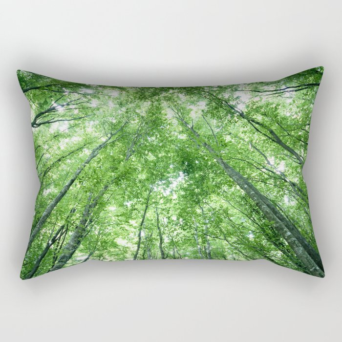 Trees in a forest from the bottom view Rectangular Pillow