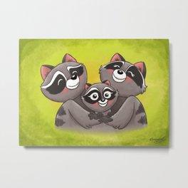 Raccoon Family! Metal Print