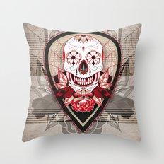 Ink Skull Throw Pillow