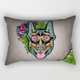 Doberman with Cropped Ears - Day of the Dead Sugar Skull Dog Rectangular Pillow