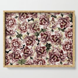 Vintage Flowers At Night #society6 Serving Tray