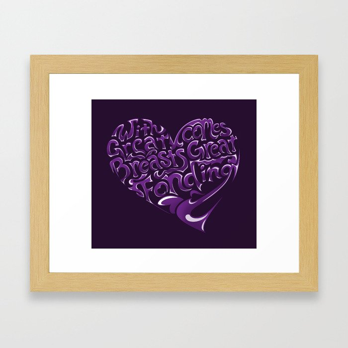 Breast Cancer Awareness Heart Framed Art Print