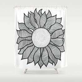 Isolated Inked Flower Shower Curtain
