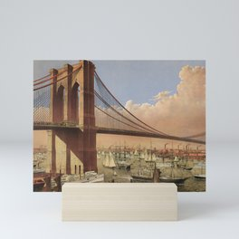 The Great East River Suspension Bridge - 1883 Mini Art Print