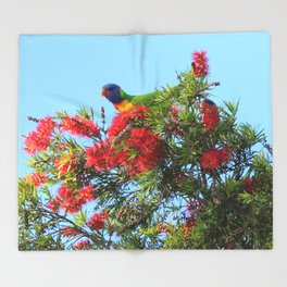 Rainbows and Brushes - Australian Lorikeet Throw Blanket