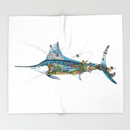 Colored Fisherman Marlin Throw Blanket