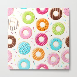 Colorful top view donuts and sprinkles pattern Metal Print