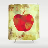 pie Shower Curtains featuring Appel pie by Design me cherry