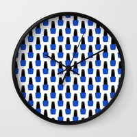 nail polish Wall Clocks featuring Blue Nail Polish by lilacattack