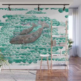 Mama + Baby Gray Whale in Ocean Clouds Wall Mural