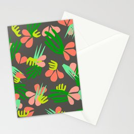 Henri's Garden in gray // tropical flora pattern Stationery Cards