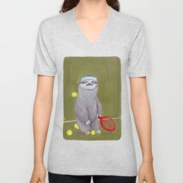 Sloths Are Bad At Things- Kevin the Tennis Star Unisex V-Neck