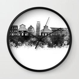 Pisa skyline in black watercolor Wall Clock