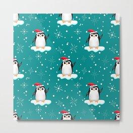 Floating Santa Penguins Metal Print