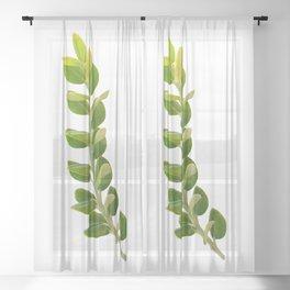 Green Foliage Sheer Curtain