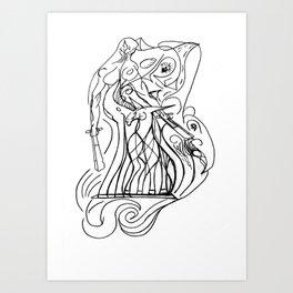 Girl and unicorn Art Print