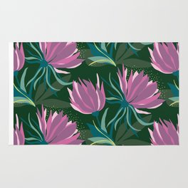 Dark and Moody Purple and Green Floral Rug